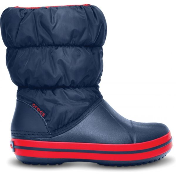 Detské zimné topánky Crocs WINTER PUFF BOOT tmavo modrá / červená