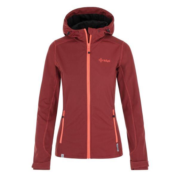 Dámska softshellová bunda Kilpi CAMPO-W tmavo červená