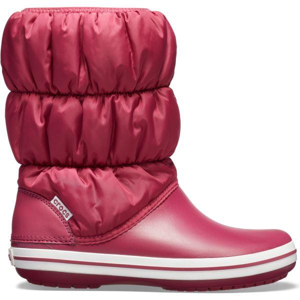 Dámske zimné topánky Crocs WINTER PUFF BOOT granátovo červená / biela