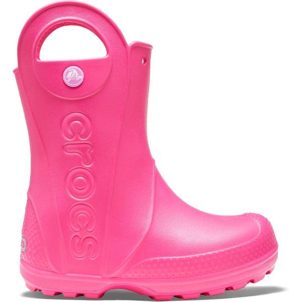 Dětslé gumáky Crocs HANDLE It Rain Boot ružová