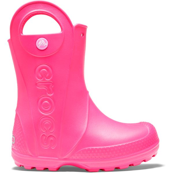 Dětslé gumáky Crocs HANDLE It Rain Boot ružová