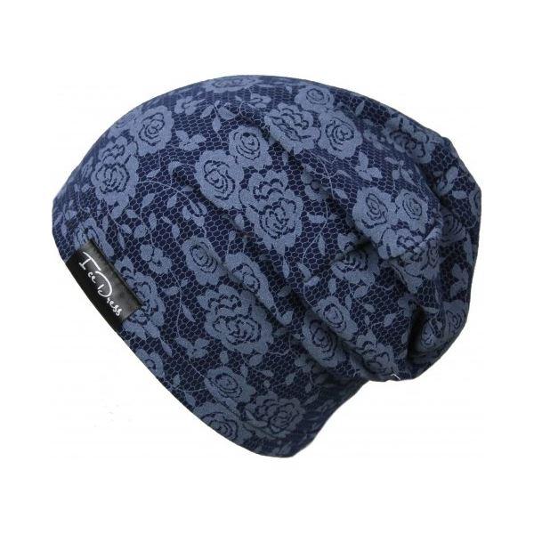 Detská bavlnená čiapka IceDress JEANS ROSE tmavo modrá