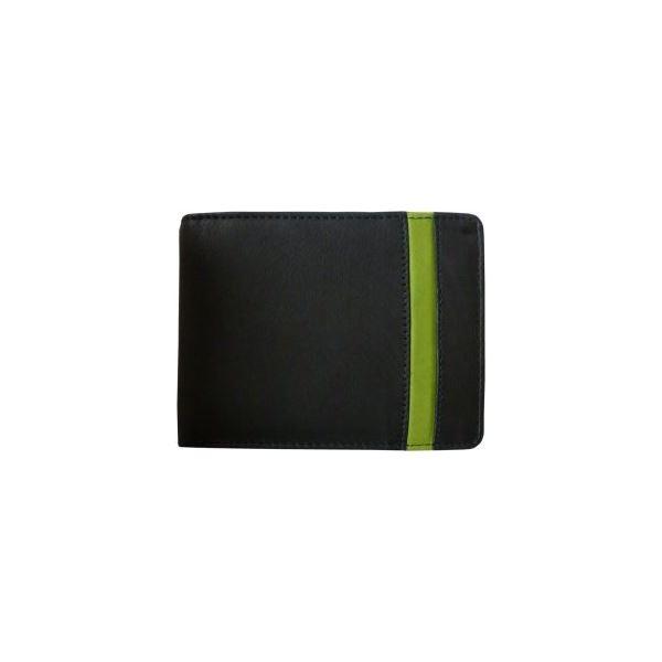 Pánska kožená peňaženka WFY 471 čierno / zelená