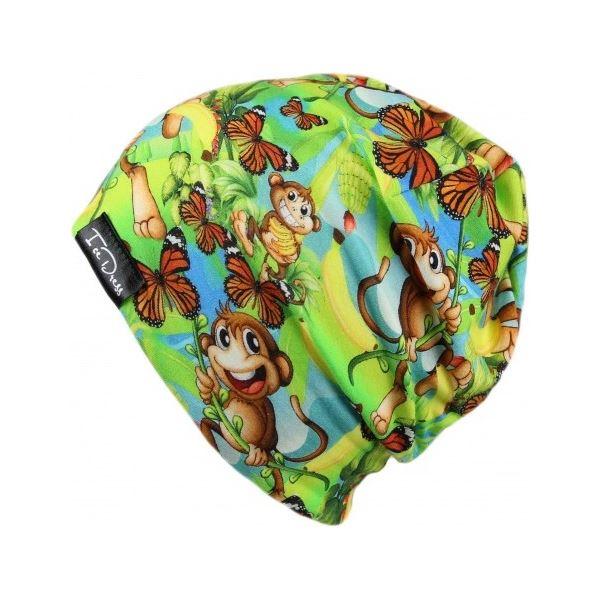 Detská bavlnená čiapka IceDress OPIČÁK zelená